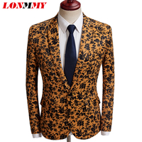 LONMMY Formal Wear blazer men stage men suits for wedding Brown flower tuxedos floral blazer men terno masculino 2018 mens suits