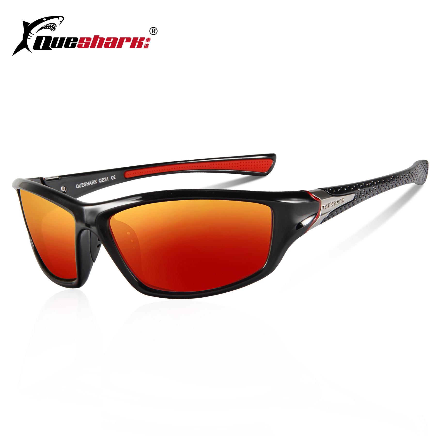 QUESHARK Polarized Cycling Eyewear Night Riding Yellow Lens Uv Protection Bicycle Sunglasses Unisex Driving Hiking Sports Glasse