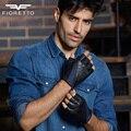 Fioretto hombres guantes sin dedos de cuero genuino de la marca de moda masculina de conducción medio dedo guantes de moto patchwork serpentina guante