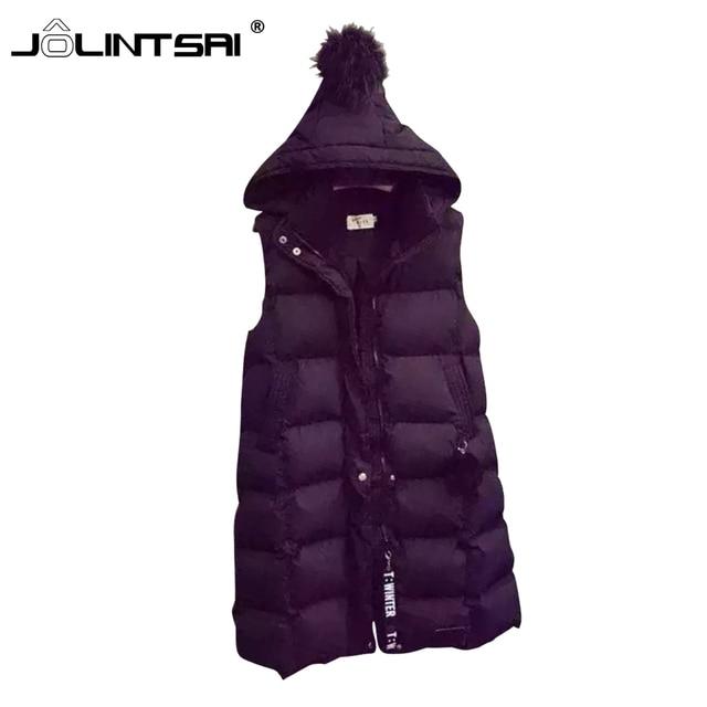 Autumn Plus Size XXL Women Vest 2016 Hooded Down Wadded Jacket Coat Women Parka Long Vest Veste Femme Waistcoat Female Coletes