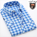 Nuevo 2016 summer 19 colores de algodón de manga corta camisa de la manera slim fit hombres camisa clásica camisa a cuadros formales y casuales hombres