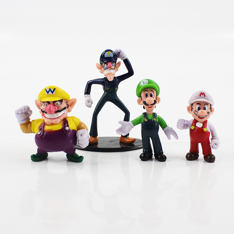 10pcs/lot Super Mario Bros Mario Luigi Wario Waluigi Donkey kong Toad  Mushroom Peach Boo PVC Figure Cartoon Model Doll Kid Toys 1