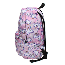 Unicorn Heads Printed Backpack with Makeup Bag