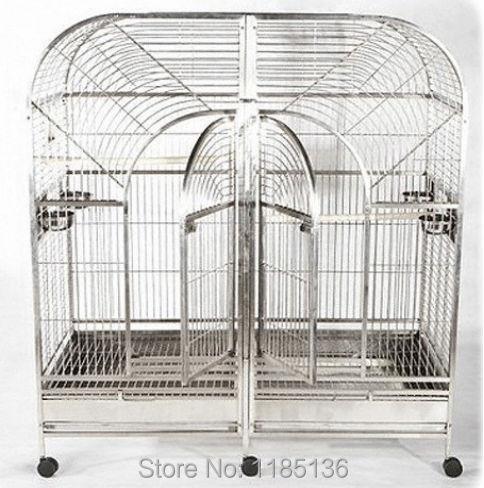 Grande taille 304 Cage à perroquet en acier inoxydable Double Cage à oiseaux amazones 50 ''* 25'' * 65 ''ST64DA