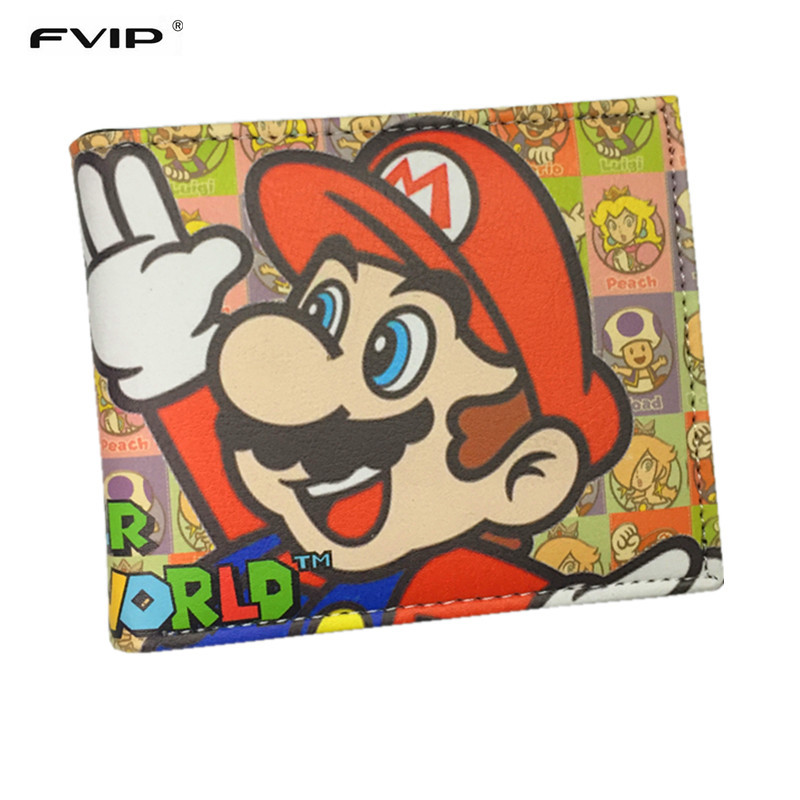 FVIP Super Mario World Wallets Cute Cartoon Comics Purse Student Nintendo Game Super Mario Figures Wallet Credit Card Holder fvip wholesale wallet ghost busters minions despicable me doctor who rolling stone inside out nintendo wallets