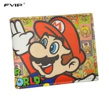 FVIP Super Mario World Wallets Cute Cartoon Comics Purse Student Nintendo Game Super Mario Figures Wallet Credit Card Holder