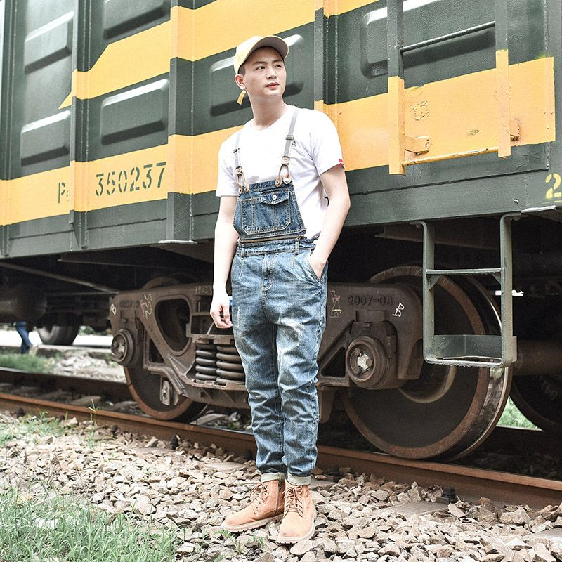 Men Cool Ripped Hole Blue Denim Overalls Men denim jumpsuit bib pants Suspenders Trouser For Man long Slim jeans For male 063007 plus size pants the spring new jeans pants suspenders ladies denim trousers elastic braces bib overalls for women dungarees