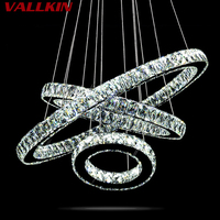 VALLKIN Modern LED Crystal Chandelier Pendant Ceiling Lamps Fixtures For Hotel Mall Hallway AC110 To 240V