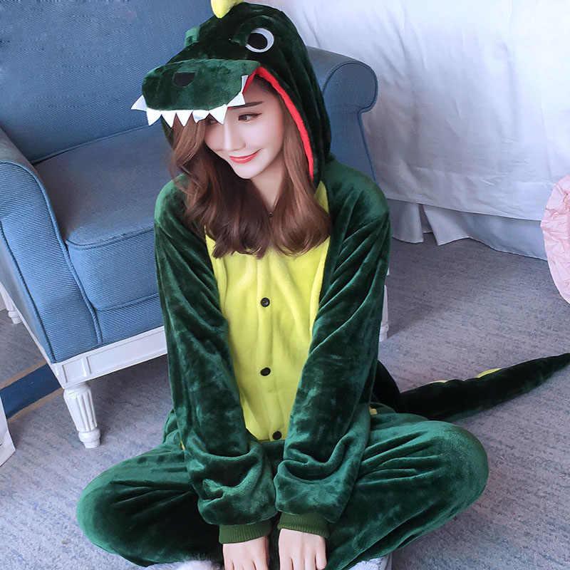 2018 Anime Pajama Sets Cartoon Sleepwear Women Pajamas Flannel Animal  Dinosaur Unicorn Winter And Spring Warm 83083d9d2