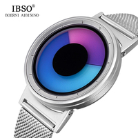 IBSO Mens Watches Top Brand Luxury Steel Mesh Strap 2017 Hide Watch Head Fashion Creative Quartz