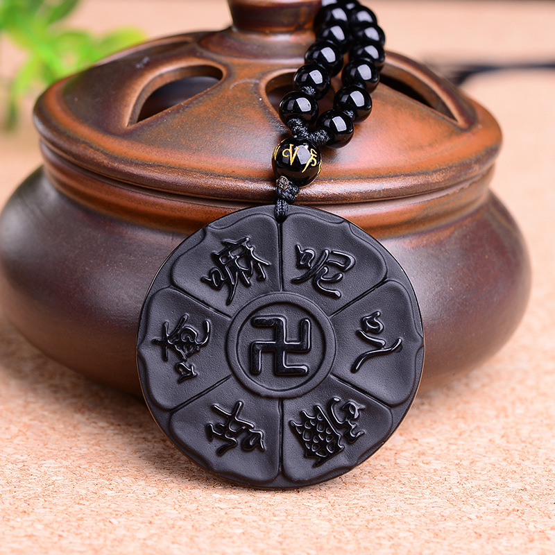 Drop Shipping Hand Fine carving Obsidian Buddha  six word of mantra black Obsidian pendant Women men's Jades Jewelry Free Rope