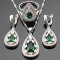 Cor prata Conjuntos De Jóias de Noiva Para As Mulheres Criado Verde Esmeralda Branco CZ Pingente de Colar Brincos Anéis Caixa de Presente Livre