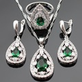 Silver Color Bridal Jewelry Sets For Women Green Created Emerald White CZ Necklace Pendant Drop Earrings Rings Free Gift Box