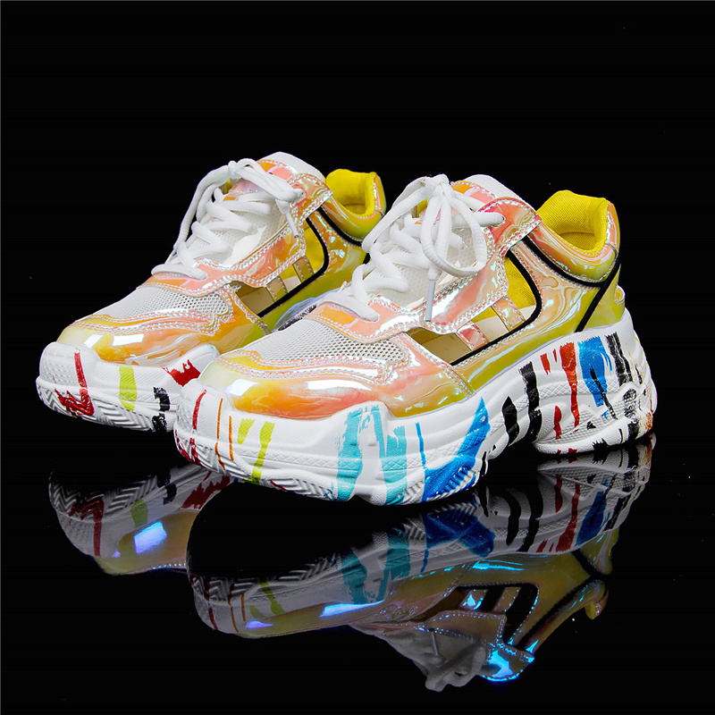 Yellow Sneakers Women Colorful Sneakers 2019 Platform Chunky Trainers Women Shoes Summer Footwear Graffiti Casual Shoes baskets