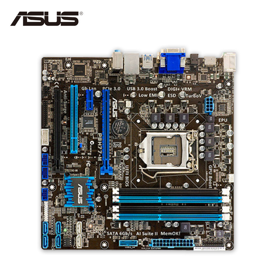 For P8H77-M Original Used Desktop Motherboard For Intel H77 Socket LGA 1155 For i3 i5 i7 DDR3 32G SATA3 USB3.0 uATX On Sale