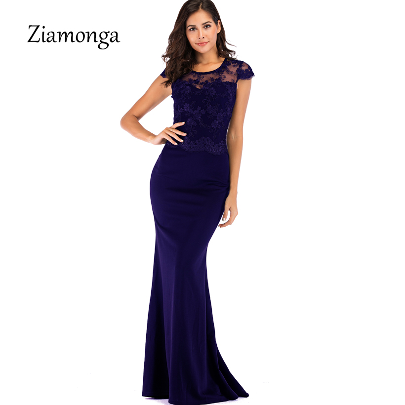 Ziamonga 2019 Long Maxi Dresses Women Evening Party Mermaid Dress Elegant Lace Sexy Dresses Summer Floor Length Women Vestidos