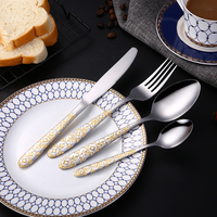 Lemeya 24 Pcs/Set Stainless Steel Gold Plated Cutlery Set Dinner Steak Knife Fork Spoon Western Food Flatware Tableware Sets