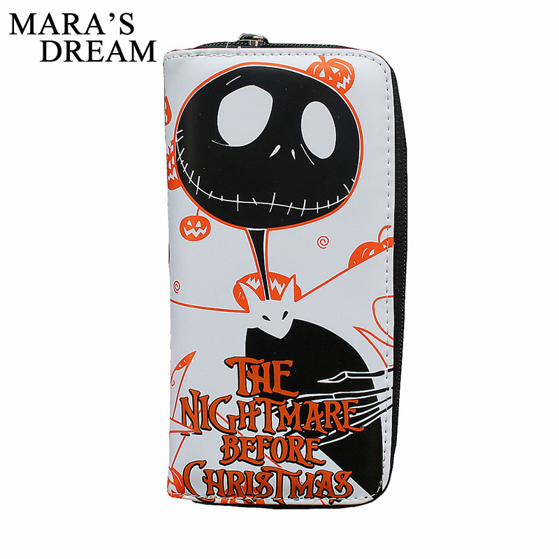 Mara's Dream 2018 PU leather Men & Women Wallets Ladies Clutch Bags The Nightmare Before Christmas Purses Jack Skull Long Wallet
