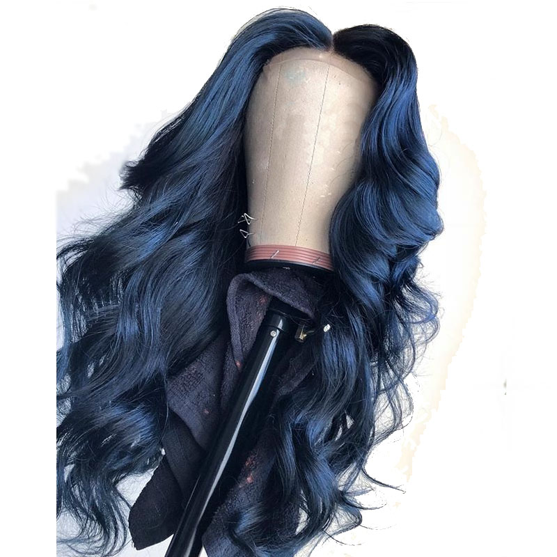 13X6 Deep Part Blue Colored Lace Front Human Hair Wigs Loose Wave Full Lace Frontal For