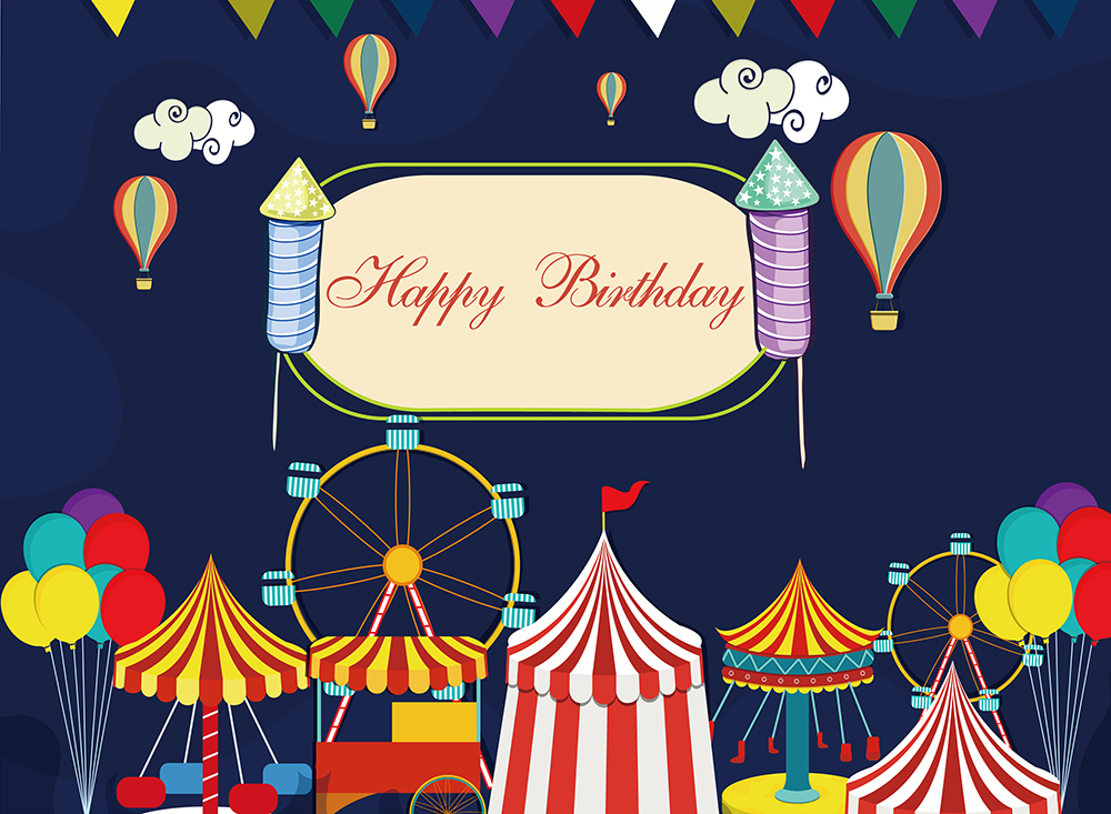 Balloons Carnival Circus Personalized Step Repeat Photo Backdrop