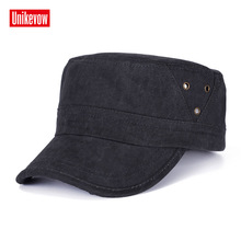 UNIKEVOW 100% cotton solid army Cap Washed Flat top Hat for men  Military cap with triangle decoration Breathablue outdoor