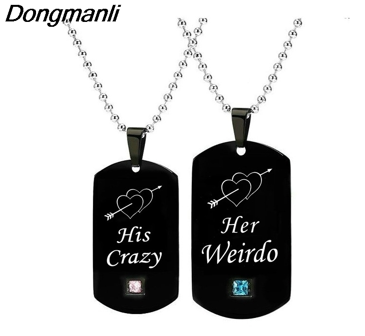 20sets/lot (2pcs/set) Romantic His Crazy & Her Weirdo Couple Necklaces Stainless Steel Dog Tag Charm Gifts for Lovers M206020sets/lot (2pcs/set) Romantic His Crazy & Her Weirdo Couple Necklaces Stainless Steel Dog Tag Charm Gifts for Lovers M2060