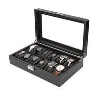12 Slot Luxury Watch Box Black Watch Jewelry Bracelet Rings Display Box Storage Holder Jewelry Organizer Casket For Decor
