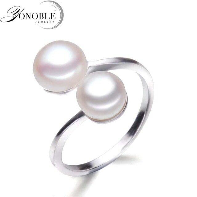 YouNoble Природный жемчуг кольца искусственный двухместный pearl кольца для женщин, серебро 925 двухместный регулируемые кольца с жемчугом подарок на день рождения