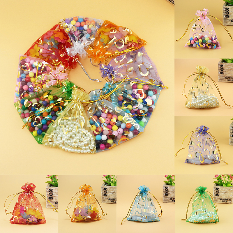 Fashion 10PCS/Lot Organza Jewelry Wedding Gift Pouch Bags 7x9cm 3X4 Inch Mix Color For Party Holiday New Year Use Random Color