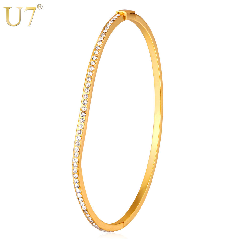 U7 Gold/Silver Color Jewelry Bangle For Women Fashion Jewelry Wholesale Rhinestone Wave Shape Bracelet H769