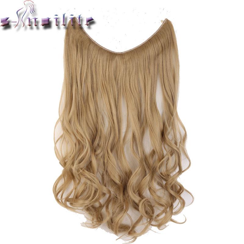 S-noilite Lange Synthetische Haar Hitzebeständige Haarteil Fisch Linie Welliges Haar Extensions Geheime Unsichtbare Haarteile Braun Blond
