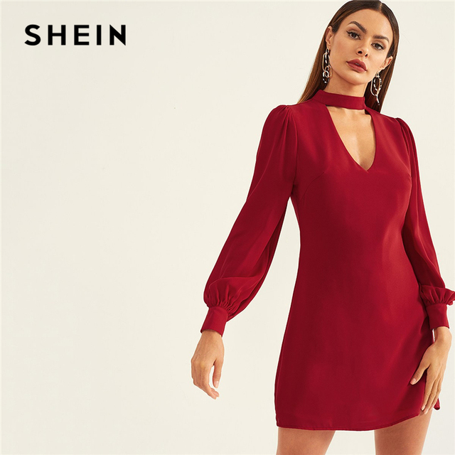e0ddbe6ae5 SHEIN Burgundy Choker Neck Sheath Short Party Dress 2019 Women Plain Spring  Long Sleeve Slim Highstreet Elegant Dresses