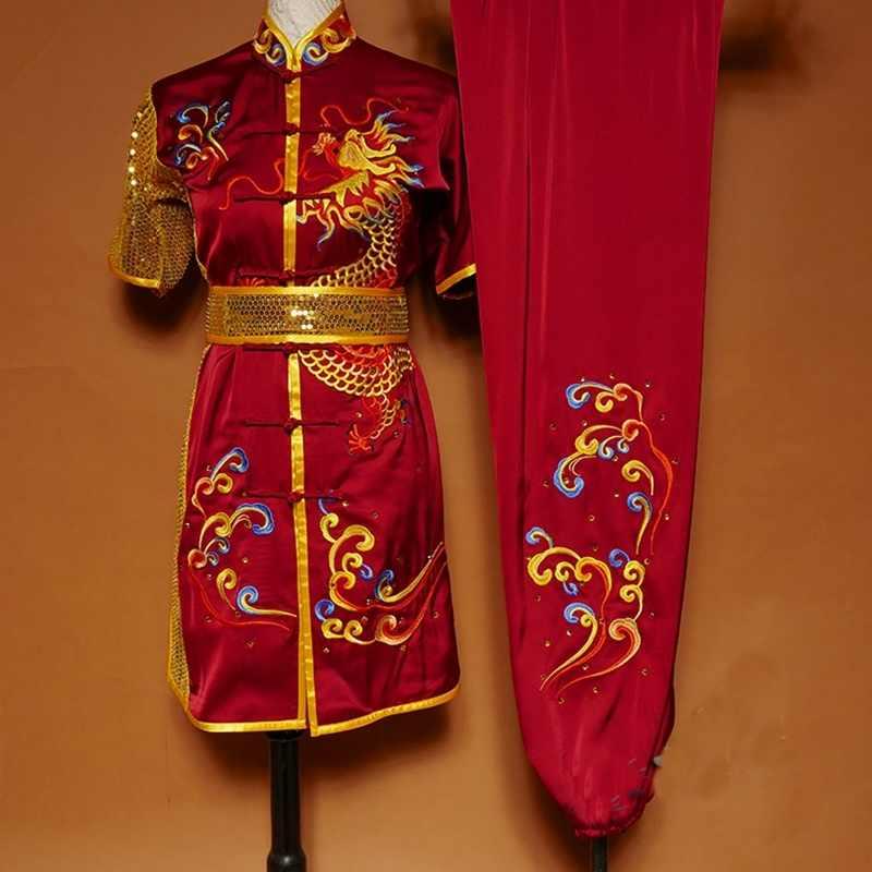Chinese Kung Fu Roupas Garoto Menino Roupa 2019 Verão de Manga Curta Bordado Dragão Tang Terno Wushu Bruce Lee Traje Brilhante TA1504