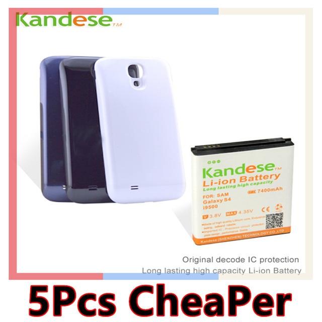 Горячие Марка KANDESE Белый Черный Синий Панель Двери 7400 мАч Большой емкости Батарея Для Samsung Galaxy S4 i9500 бесплатная доставка
