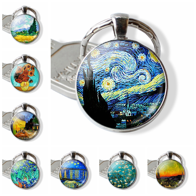 Fashion Van Gogh Art Oil Keychain Key Chain Silver Glass Convex Keyring Starry Night Jewelry Sunflower Pendant Men Women Gift