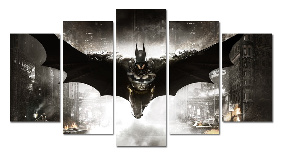 5 panels batman poster painting rectangle part free shipping wall canvas painting posters batman digital image no frame