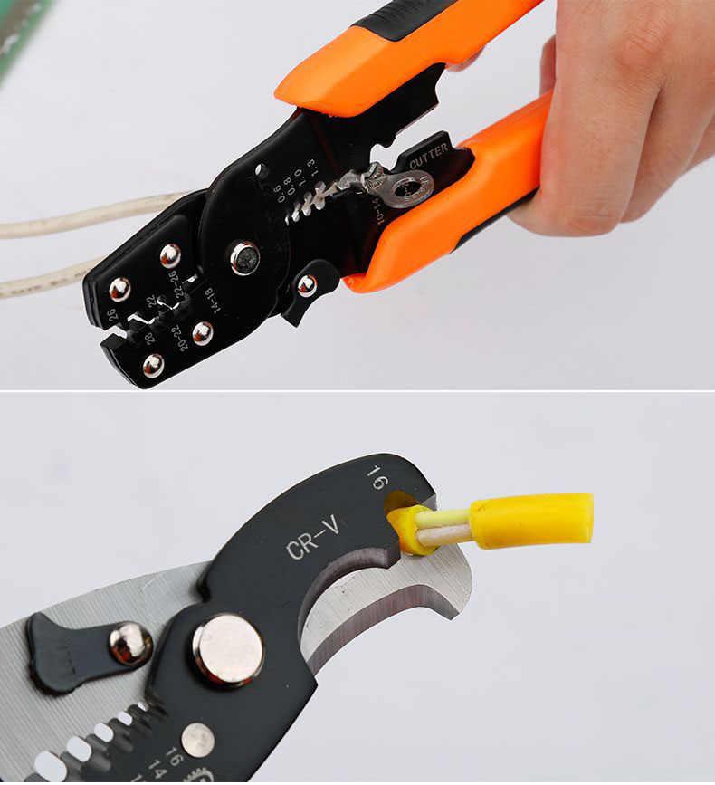 UNeefull Elektricien Draad Stripper Multi Tool Tang Kabel Cutter Draad Strippen Krimpgereedschap, Schuine krimptang