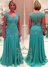 A-Line Court Train Chiffon / Lace Mother of the Bride Dress with Cap Sleeves V Neckline for Bridal Party