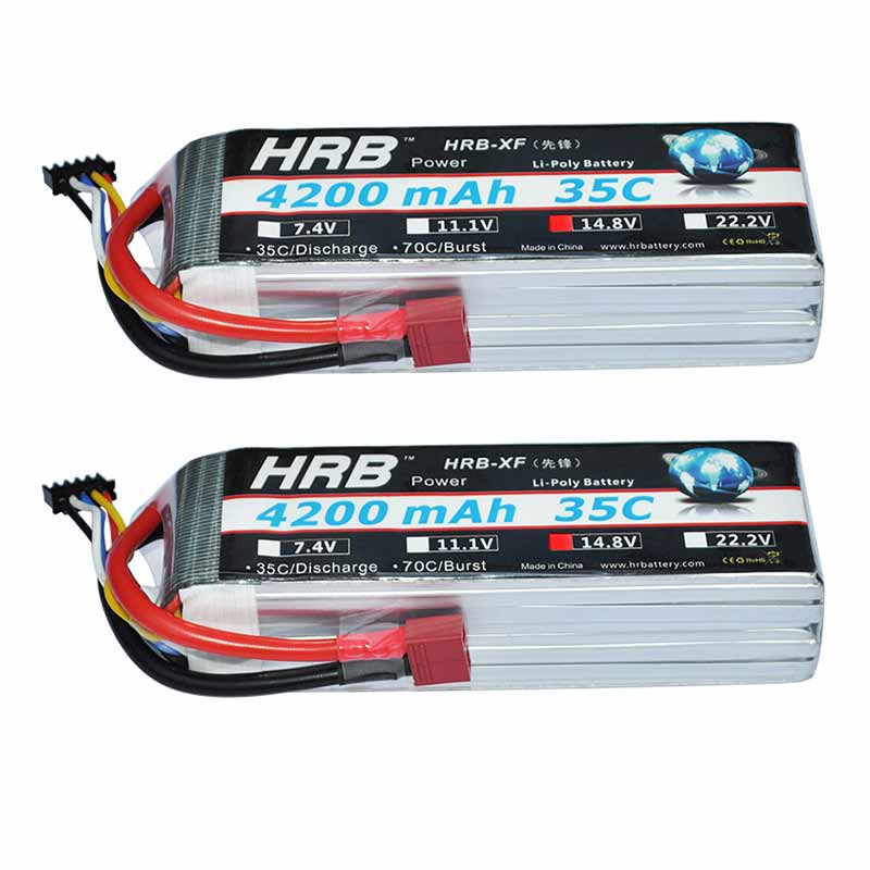 2pcs HRB Lipo Battery 4S 14 8V 4200MAH 35C Max 70C For 50E 110E 70mm edf