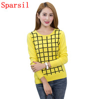 Sparsil Women's O-Neck Pullovers Cashmere Blend Knitted Sweater Female Solid Color Full Sleeve Knitwear Square Plaid Jumpers