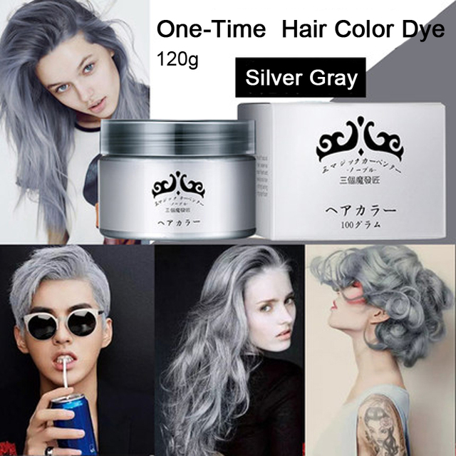 Gray Hair Color Dye Cream One Time Temporary Hair Colouring Washable ...