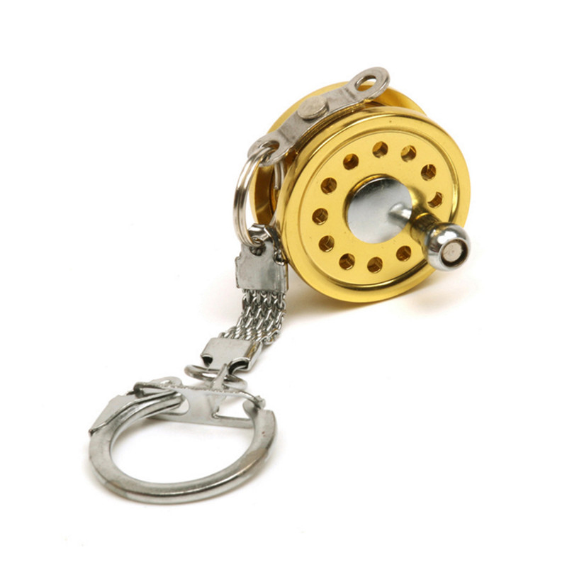 Outdoor Small Keychain Gold Color Fishing Wheel Fly Fisherman Spinning Fishing Reel Charactor Miniature Key Chain Key Ring