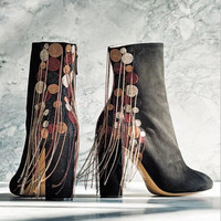 Suede Black Block Heel Ankle Boots Beading Fringed Tassel Boots Trendy Design Women Autumn Shoes Round
