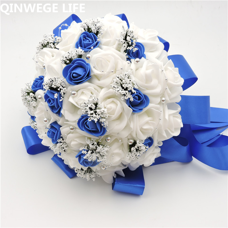 2018 New Handmade 25cm Artificial Rose Bridal Flower Bouquet Ideas Wedding Church Decor White Blue Fl6004 In Dried Flowers From Home Garden