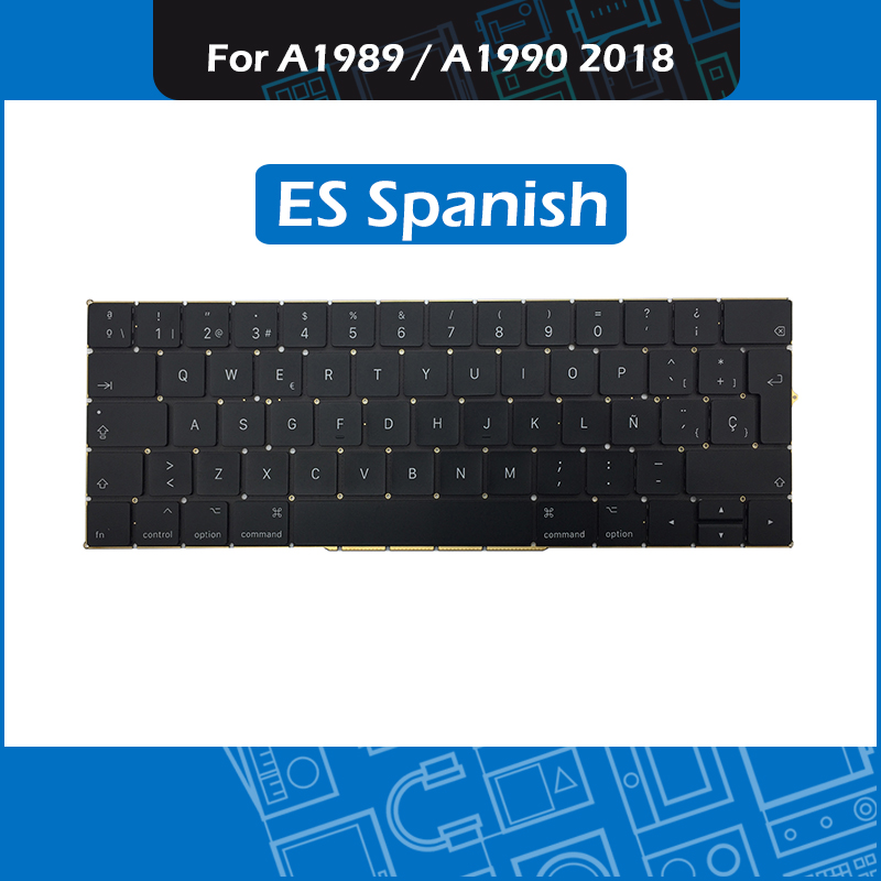New ES Spanis Layout Keyboard for Macbook Pro Retina 13 15 A1989 A1990 Spain Keyboard Replacement 2018 MR9Q2 MR932 MR942New ES Spanis Layout Keyboard for Macbook Pro Retina 13 15 A1989 A1990 Spain Keyboard Replacement 2018 MR9Q2 MR932 MR942
