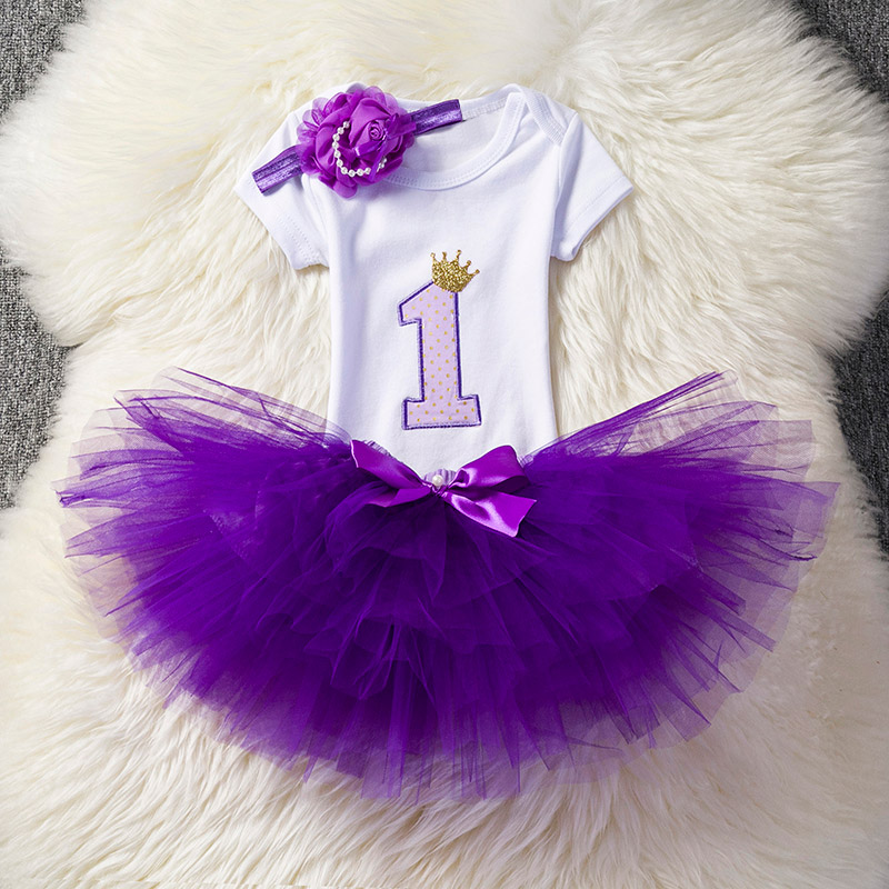 Toddler Girl Clothes First Birthday Party Cake Smash Outfit Sets Newborn Clothing Girl Tutu Infant Baptism Clothes Pink Purple