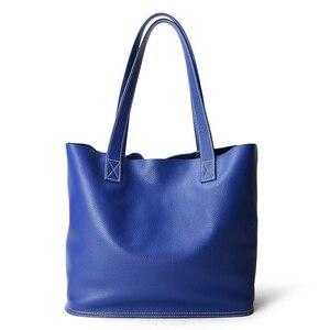 Image 4 - Sac à main en cuir véritable pour femmes, sac bonne qualité de luxe, sac de Shopping Simple pour dames, sacs épaule en cuir de vache de grande capacité décontracté
