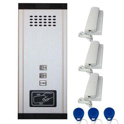 SMTVDP New Arrival Audio Door Phone Intercom System 3-apartments Audio Doorbell,New Design Indoor Unit ID Card Unlock Function