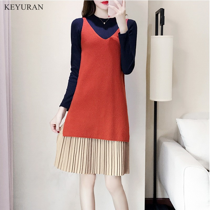 Women Knitted Sets Clothing 2018 Spring Autumn New XL-5XL Plus Big Size Ladies Loose Cute Sweet New Knit Vest Dress Suits Female plus size pants the spring new jeans pants suspenders ladies denim trousers elastic braces bib overalls for women dungarees