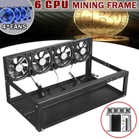 Leory Iron Open Air Rig Miner 4 X Blue Fans 6 GPU Mining Frame Case With